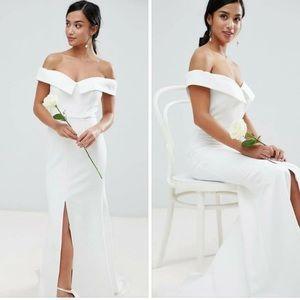 Jarlo white wedding/bridesmaid dress